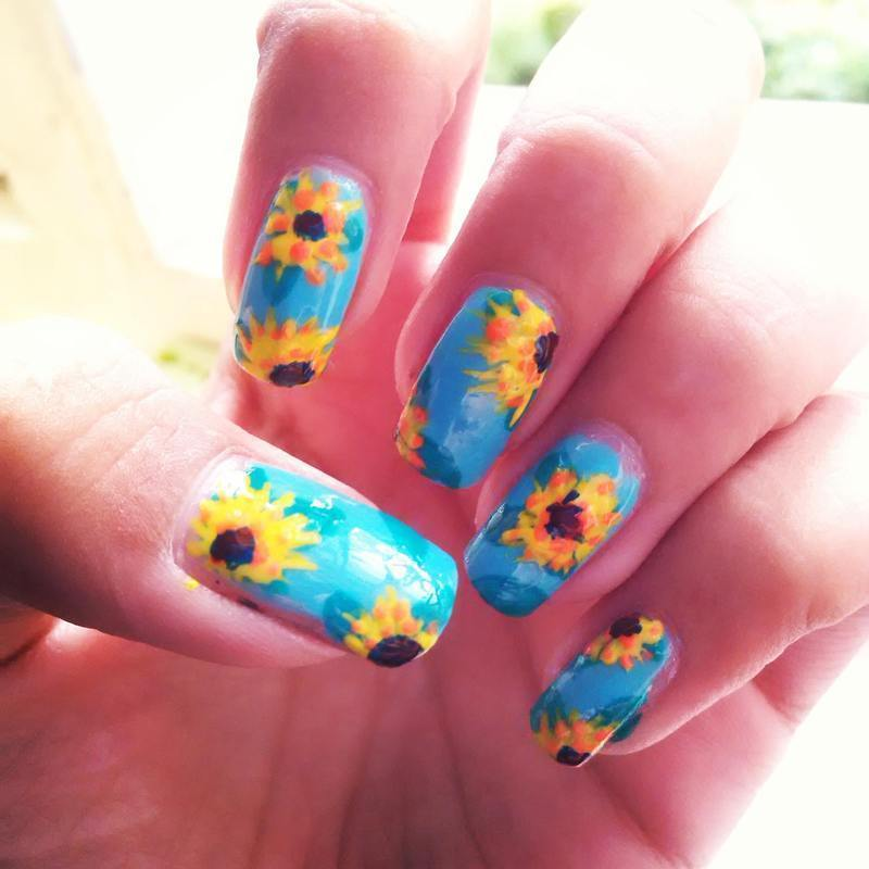 Sunflower Nails! nail art by Nailz4fun