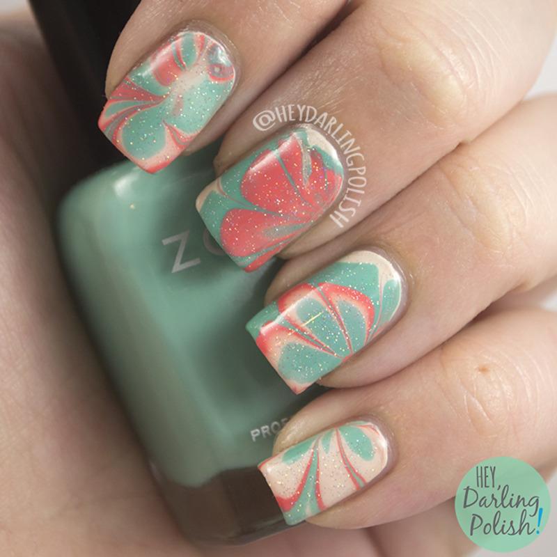 Watermarble nail art by Marisa  Cavanaugh