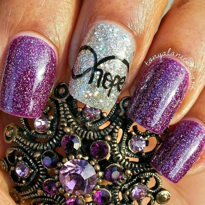 Infinity Hope nail art by Tonya