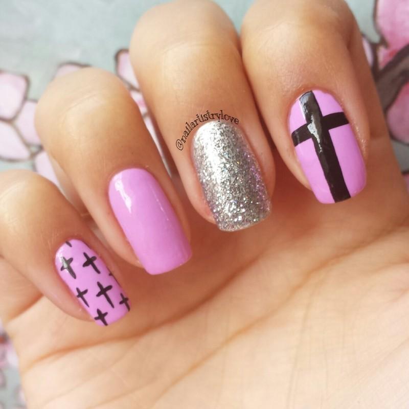 Lilac Crosses nail art by Julia