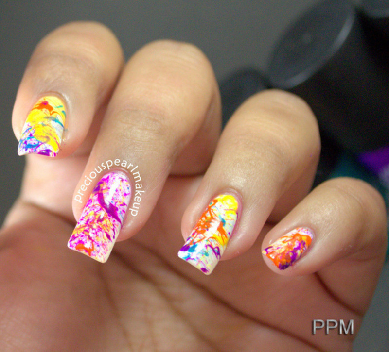 Spring Splatter nail art by Pearl P.