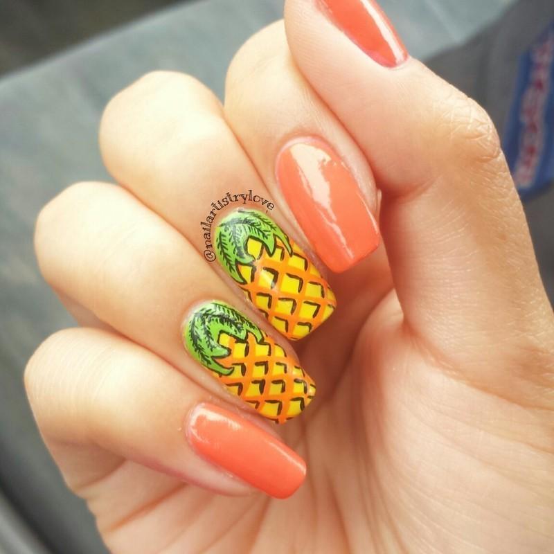Pineapples nail art by Julia