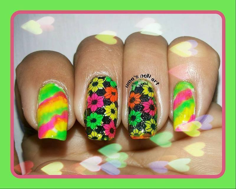 spring with neon nail art by Uma mathur