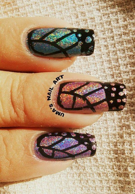 holo wings nail art by Uma mathur