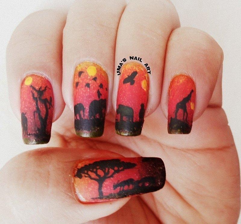sun set in summers nail art by Uma mathur