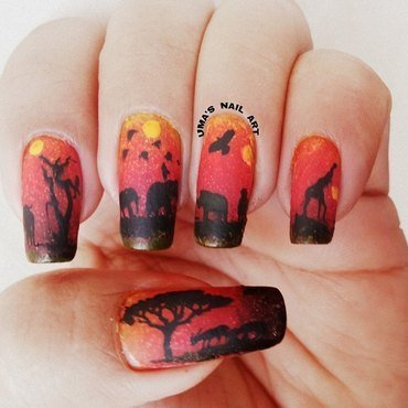 sun set in summers nail art by Uma mathur