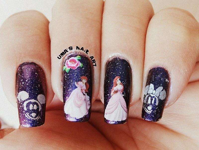 Disney night nail art by Uma mathur