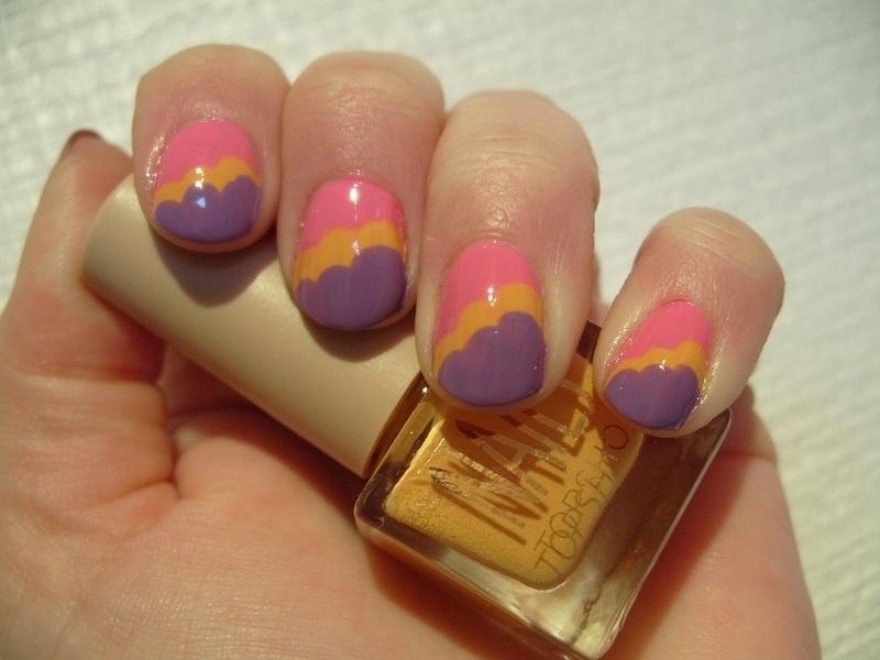 Art Deco Clouds nail art by Lina-Elvira