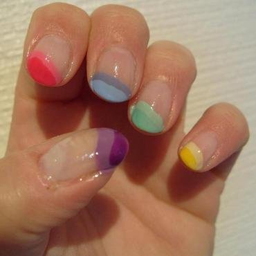 Funky French nail art by Lina-Elvira