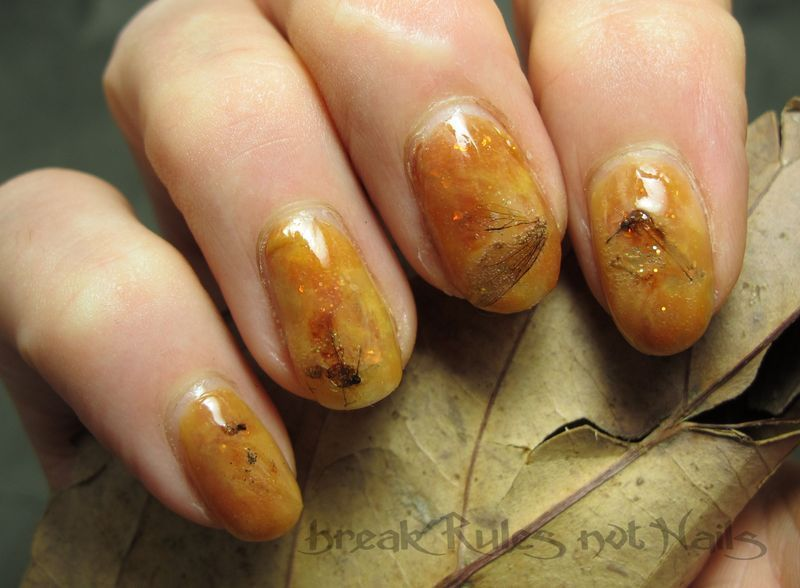 Trapped in Amber nail art by Michelle