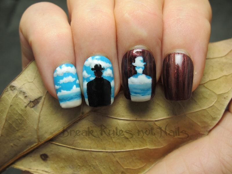 Rene Magritte inspired nail art by Michelle
