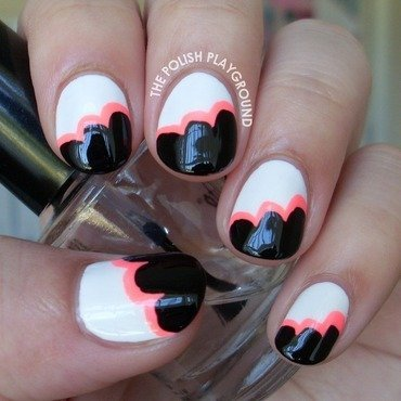 Black and White & Neon Pink Clouds Nails nail art by Lisa N