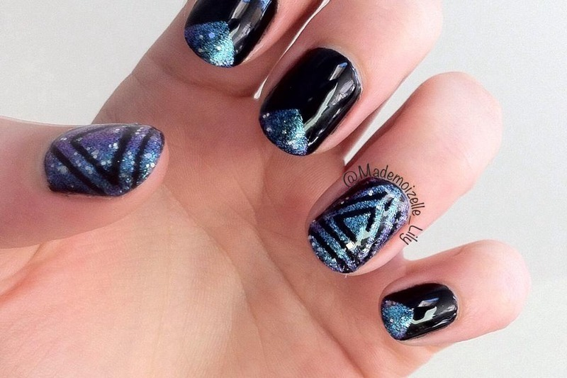 Galaxy nails nail art by Emilie