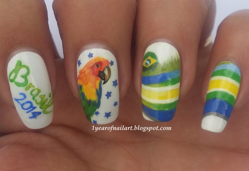 FIFA World Cup nails (Brasil 2014) nail art by Margriet Sijperda