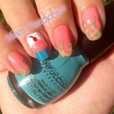 Cupcake and ice cream  nail art by Miami_handjobs