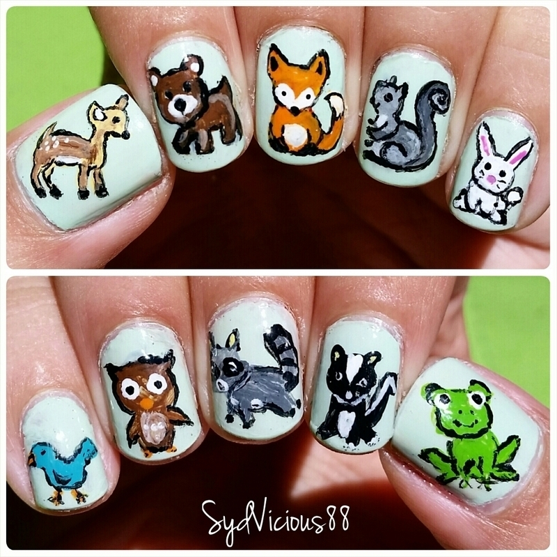 Woodland Creatures nail art by SydVicious