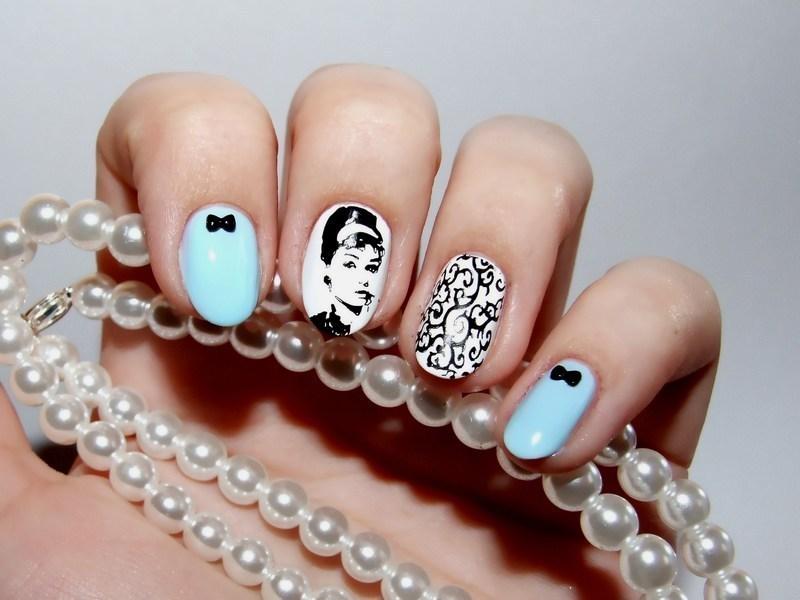 Audrey Hepburn nail art by Paulina Domoradzka