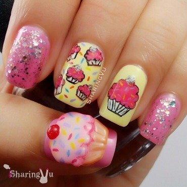 Keep Calm & Eat a Cupcake 😊 nail art by SharingVu