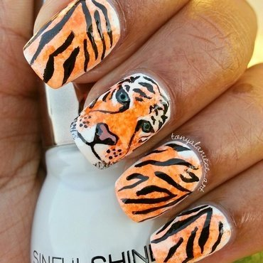 Tiger Mani nail art by Tonya