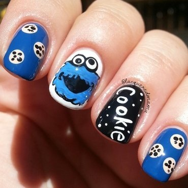 Cookie Monster nail art by Jennifer Collins