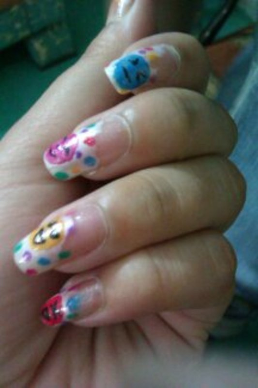 Smilies nail art by Haniya Sajid