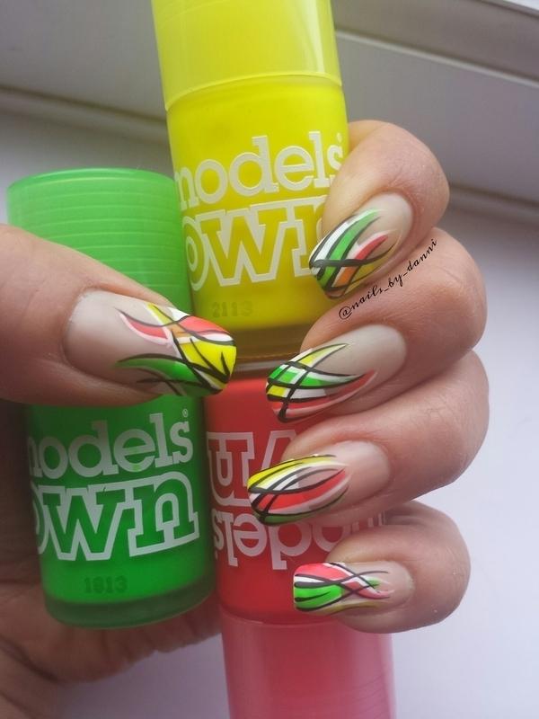 neon stripe tips nail art by Danielle Hails - Nailpolis: Museum of ...