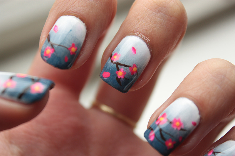 Stormy Blossom nail art by Cutecle
