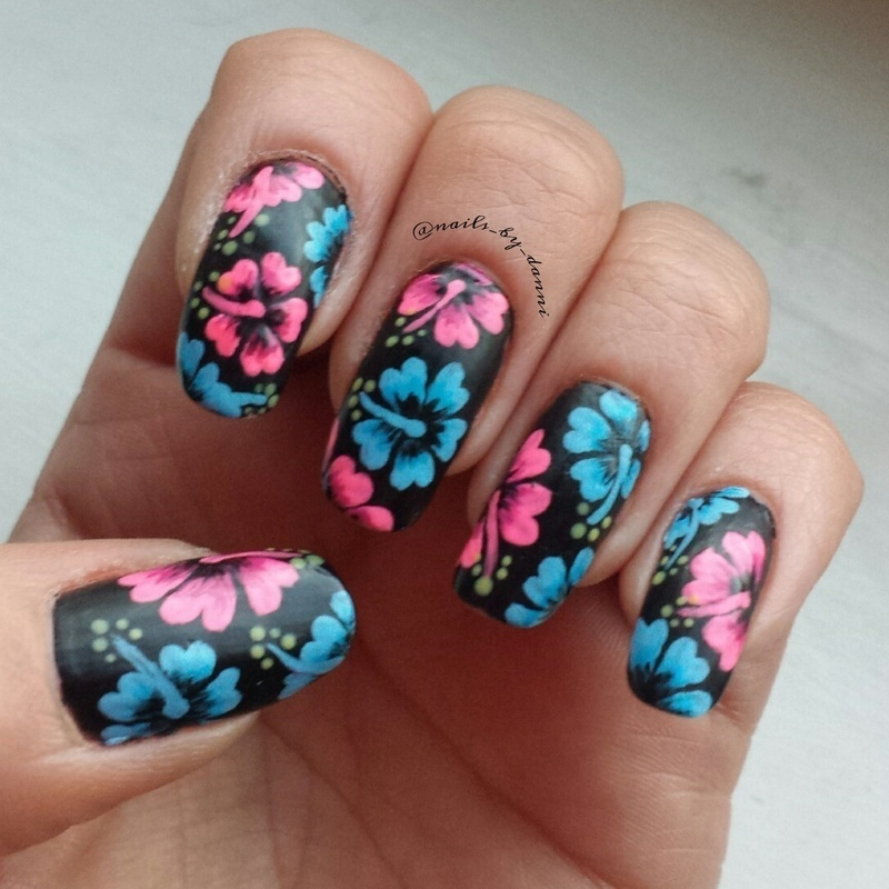 pink and blue hibiscus nail art by Danielle  Hails
