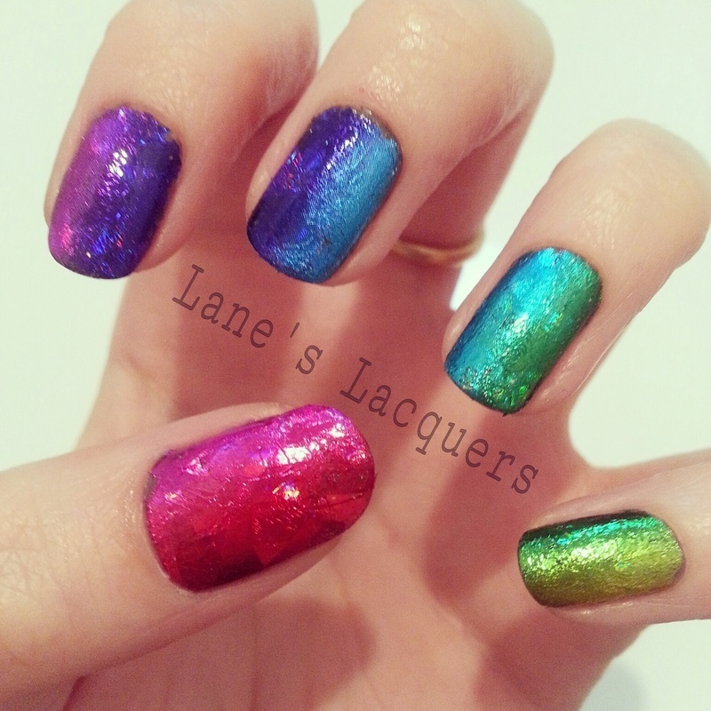 Rainbow Nail Foil Gradient nail art by Rebecca
