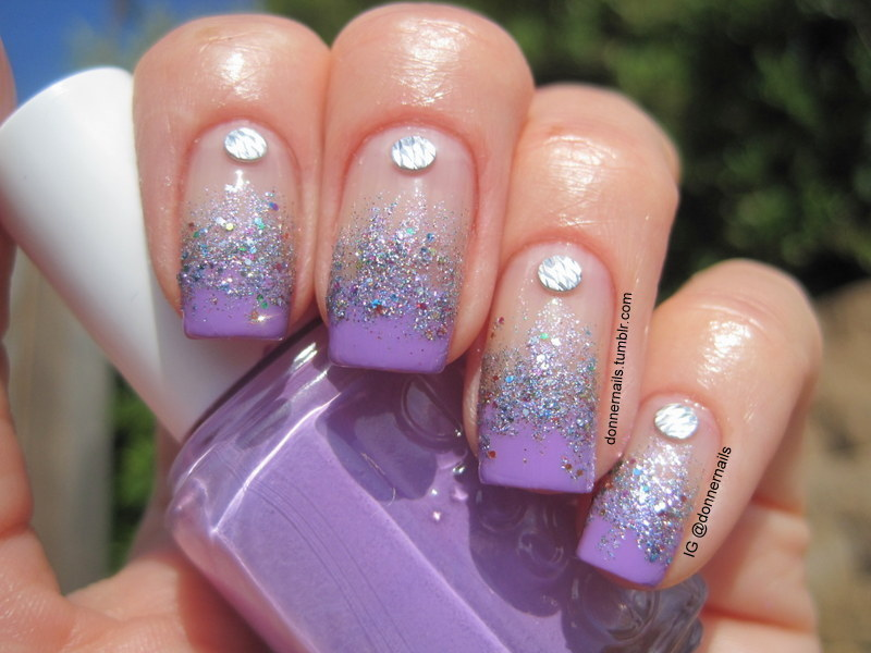 Lilac Sparkles nail art by Donner