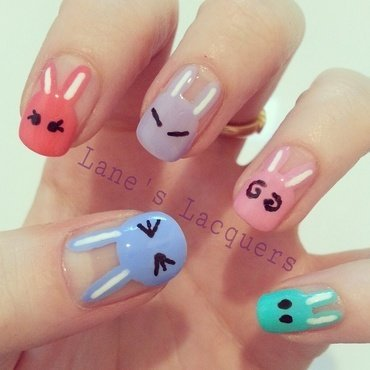 Cute Bunny Nail Art nail art by Rebecca