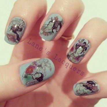 Delicate Oriental nail art by Rebecca
