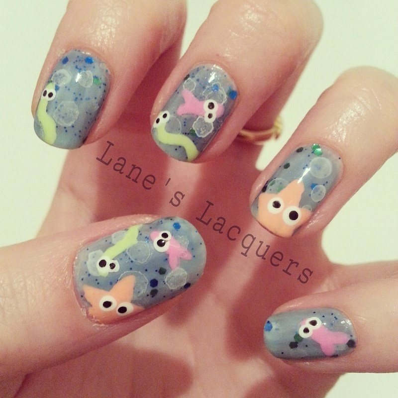 Cute Creatures Under The Sea nail art by Rebecca