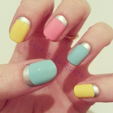 Tri polish challenge pink blue yellow pastel nail art thumb370f