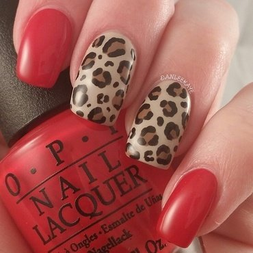 Red leopard print nail art by Danlee