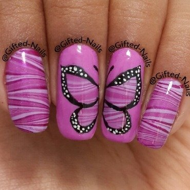 Butterfly watermarble nail art by Gifted_nails