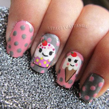 Kawaii Cupcake and icecream nail art by Stacey  Castanha