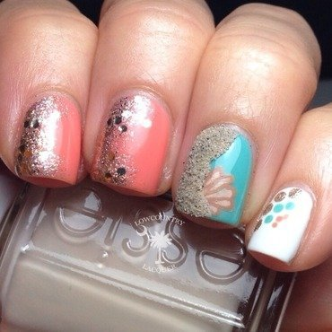 Beach inspired nails  nail art by Danele - lowcountry lacquer