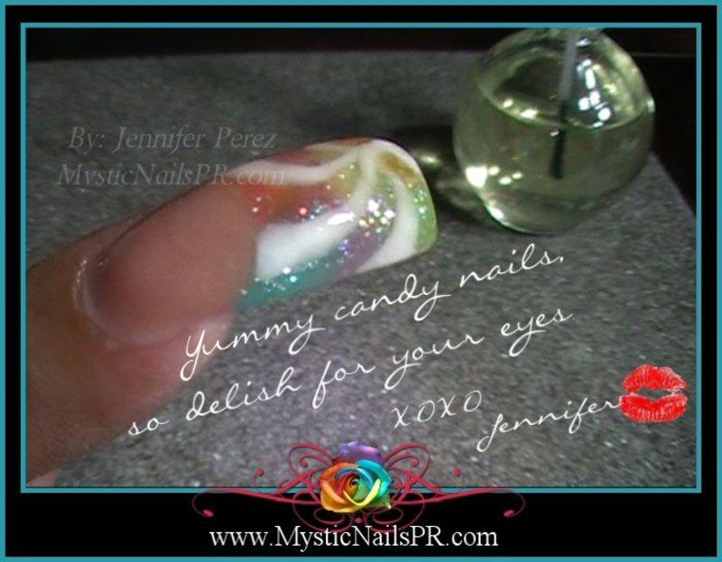 Candy Nails! ♥ by Jennifer Perez nail art by Jennifer Perez ♥ Mystic Nails