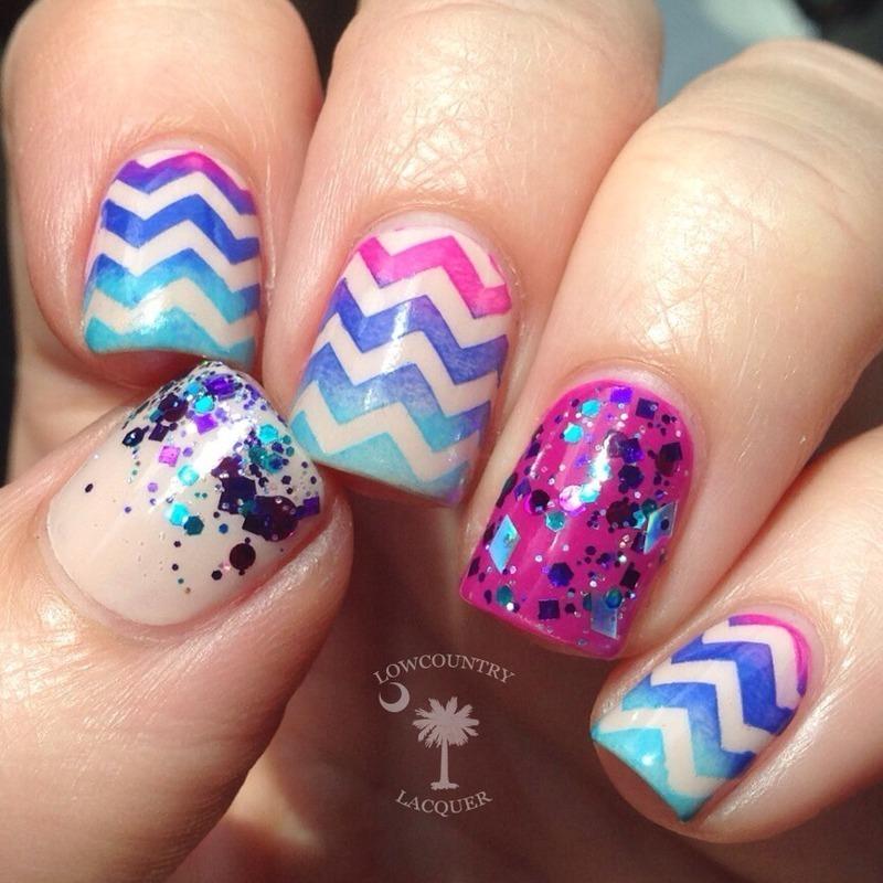 Neon Chevron nails nail art by Danele - lowcountry lacquer