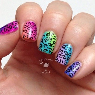 Neon Gradient & Leopard Print nail art by Danele - lowcountry lacquer