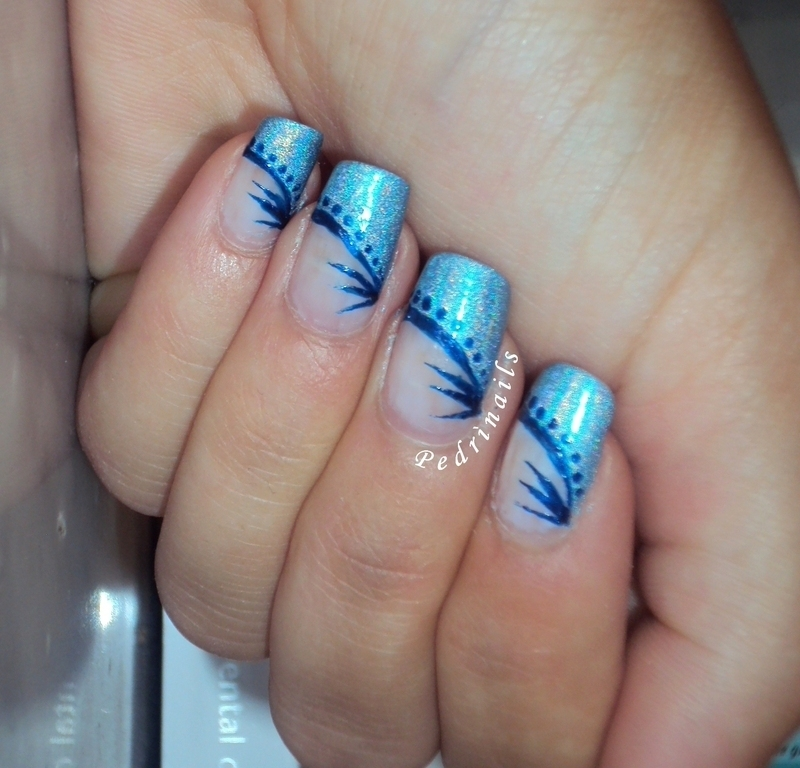 Blue diagonal border french manicure nail art by Pedrinails ...