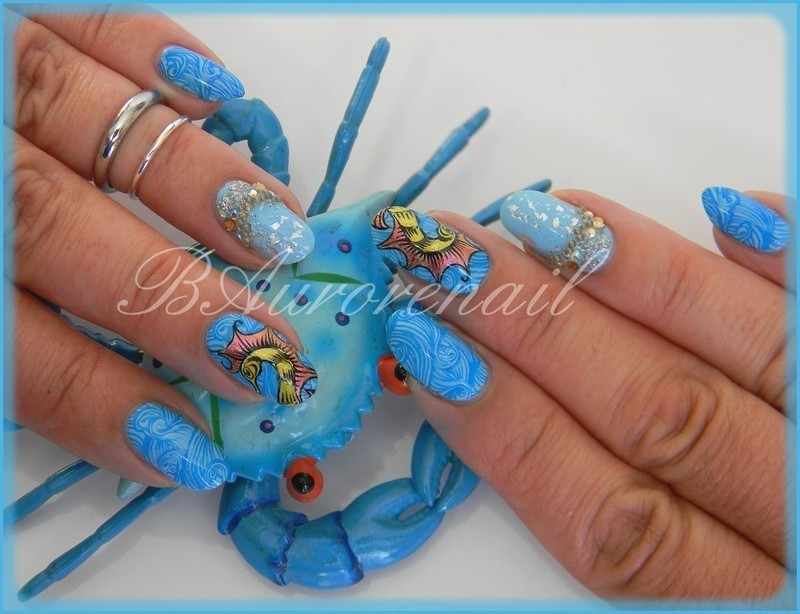 sea horse  nail art by BAurorenail