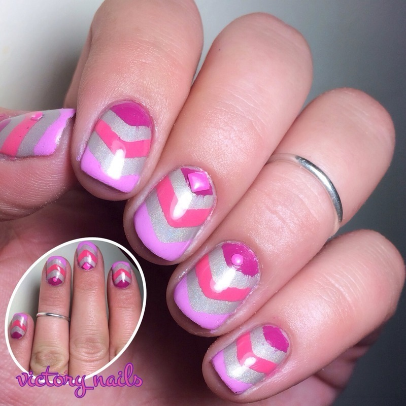 Pink ombré chevrons over nude holo nail art by Nicole