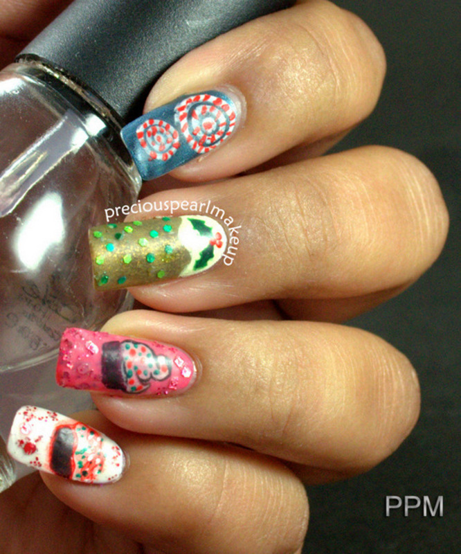 Christmas Food nail art by Pearl P.