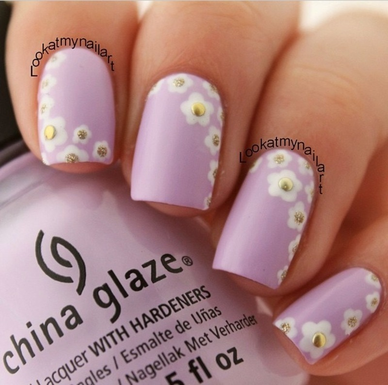 Pastel polish and daisies ♥ nail art by Sabine
