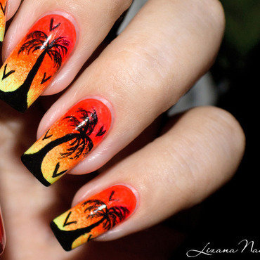 Nail art Sunset / Nailstorming nail art by Lizana Nails