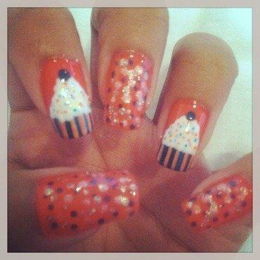 Cupcake and Sprinkles  nail art by Yasmin Browne