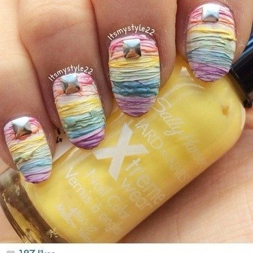Pastel Rainbow sugar spun nails  nail art by Liz
