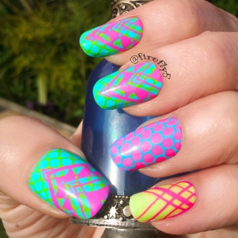 Summer neons nail art by Ruth Cox (@firefly5)